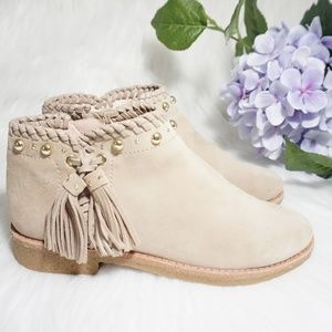Kate Spade Booties Zip Gold Stud Tassel Beige